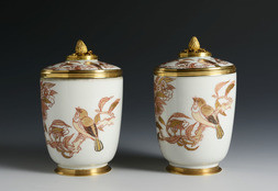 A PAIR OF LIDDED TUMBLERS