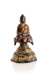 A POLYCHROME AND GILT LACQUERED BRONZE FIGURE OF AMITABHA