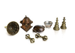 A GROUP OF EIGHT TIBETAN RITUAL OBJECTS