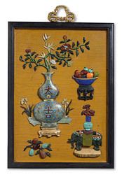 A FINE JADE, HARDSTONE AND CLOISONNÉ ENAMEL INLAID LACQUER PANEL