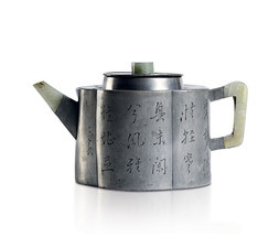 A PEWTER ENCASED YIXING TEAPOT AND COVER WITH JADE MOUNTS