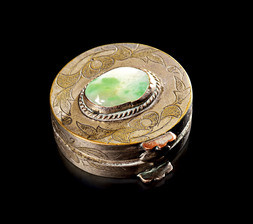 A MINIATURE SILVERED BRASS BOX WITH JADEITE CABOCHON