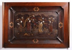 A LACQUER TRAY WITH IVORY AND MOTHER-OF-PEARL INLAYS