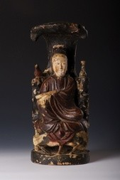 A WOODEN POLYCHROME FIGURE OF GUANYIN
