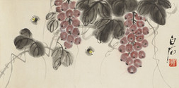 WINE GRAPES AND TWO BEES