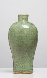 A LONGQUAN CELADON-GLAZED BALUSTER VASE, MEIPING