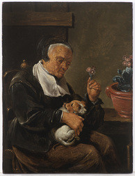 Portrait of an Old Woman With a Dog