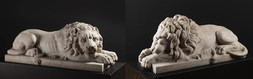 Pair of Reclining Lions