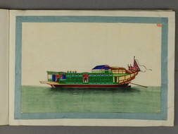 AN ALBUM OF 12 PITH PAINTINGS OF CHINESE BOATS AND SHIPS
