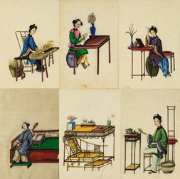 A GROUP OF SIX CANTONESE EXPORT PITH PICTURES