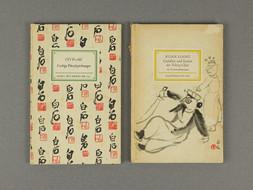 2 knihy z nakladatelství Insel-Verlag: KUAN LIANG - GESTALTEN UND SZENEN DER PEKING-OPER, INSEL-BÜCHEREI NR. 692. CH'I PO-SHIH: FARBIGE PINZELZEICHNUNGEN, INSEL-BÜCHEREI NR. 636