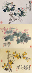A GROUP OF THREE FLORAL WOODBLOCK PRINTS