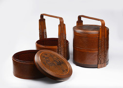 A PAIR OF BAMBOO FOOD BASKETS