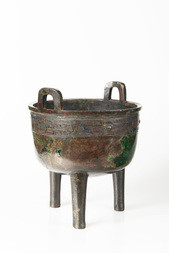 AN ARCHAIC BRONZE RITUAL FOOD VESSEL, DING