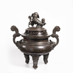 A LARGE BRONZE TRIPOD INCENSE
