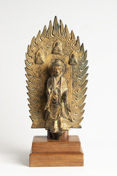 A LARGE GILT-BRONZE VOTIVE FIGURE OF MAITREYA