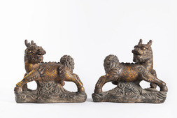 A PAIR OF GILT-DECORATED