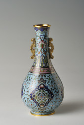 A SMALL CLOISONNÉ ENAMEL AND GILT-BRONZE VASE