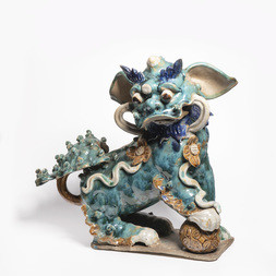 A GREEN, AUBERGINE AND YELLOW