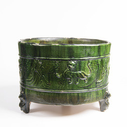 A GREEN GLAZED POTTERY CENSER