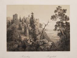 Soubor sedmi litografií: Riesenberg, Křivoklát, Pernštejn, Karlštejn, Děčín, Sloup, Rožňava