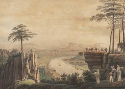 Die Aussicht  von der Bastei bei Rathen