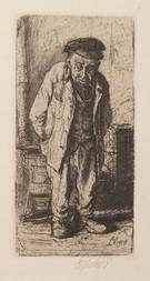 Konvolut: Ladislav Čepelák: Starý muž / Miloslav Troup: Litografie / Vladimír Silovský: Mikulášský trh / Josef Kubíček (1890-1972): Dvojice na cestě