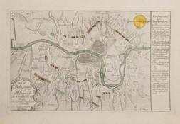 Mapa obležení Prahy pruskou armádou v roce 1757