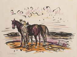 Konvolut dvou grafických listů: Vojtěch Sedláček (1892-1973), V podvečer / Ludmila Jiřincová (1912-1994), Vesnice