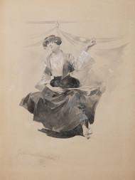 Konvolut třech grafických listů a kresby: Karel Stroff (1881-1929), Bosenská tanečnice / Charles Cottet (1863-1925), Lodě / William Strang (1859-1921), Diváci